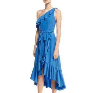 Joie Damica One-Shoulder Wrap Silk Midi Dress